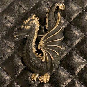 Vintage Antique Mystical Dragon Retro Brooch